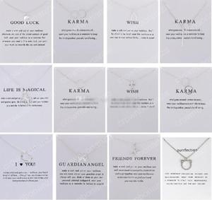 12 Diseños Collar Dogeared Con Tarjeta Buena Suerte Elefante Colgante Noble y Delicada Gargantilla de Plata Regalo del Día de San Valentín