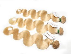 학년 10A 표백제 금발 613 처녀 머리 브라질 처녀 인간의 머리 엮어 번들 바디 웨이브 유라시아 러시아어 페루 인도 말레이시아 머리