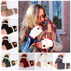 Mujeres medio dedo guantes mujer tejer manopla botón de encaje cálido sin dedos botón encaje de punto guantes sin dedos KKA3143