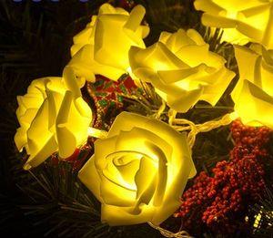 20LED Rose Flower Led Chrismas Lights NewYear Boda Romántica Decoración de Navidad Cadena Fairy Light Rose 2.2M BatteryOperated