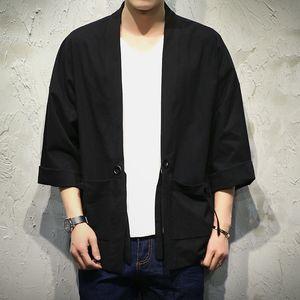 Vente en gros- Japon Style Kimono Veste Hommes 100% CottonLinen Lâche Hommes Vestes Plus La Taille 3/4 Manches Ouvert Point Casual Manteau Homme Coupe-Vent