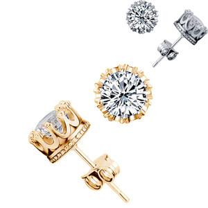 Coréen argent 925 Couronne Boucles d'oreilles en or et argent zircone cubique CZ Boucles d'oreilles pour les femmes de bijoux de mariage de luxe en vrac
