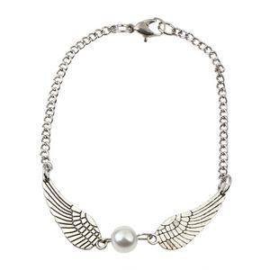 Mode Frauen Braclet Silber Perle Engelsflügel Jewely Dove Peace Armband Geschenk