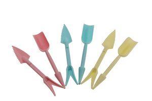 DHL gros Outils de jardin GRATUIT Mini Set 4 en 2 plastique Râteaux Puncher Cuillère Pelle pour Succulentes La plantation de jardinage Semences planteurs