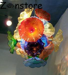 طاحونة الثريا-إيطاليا تصميم أنيق متعدد الألوان زهرة لوحات الثريا الساخن بيع 100٪ اليد الزجاج المنفوخ led زجاج مورانو الثريا
