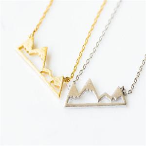 Toptan-Altın dağ kolye, Kadınlar için Snowy Mountain charm Kolye Moda Takı