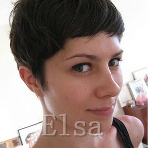 Fashion Short Black Wigs Pixie Cut Wigs For Black Women Short Virgin Full Lace Front Bob Wigs African Hair Cut Style