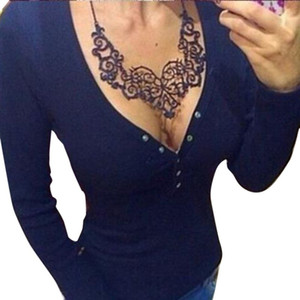 Donne Casual Color Solid Color Deep V Collo Slim T Shirt Top Sexy Buttons Design Tees Autunno a maniche lunghe