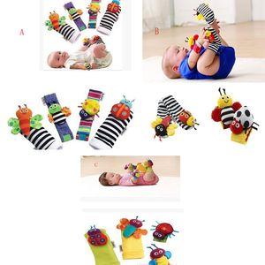 2017 3 estilos atacado-20 pçs / lote = 5 sets brinquedos chocalho do bebê Jardim Bug Chocalho Do Pulso + Pé Meias abelha joaninha relógio e localizador de pé