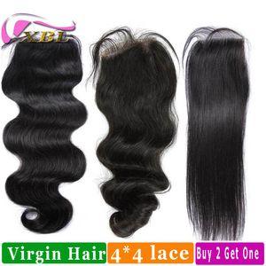 Human Hair Closure Jungfrau brasilianische Menschenhaar Top Lace Closure kaufen zwei erhalten eine freie XBL
