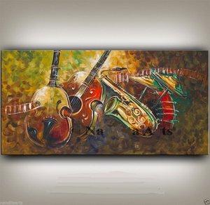 Обрамленная музыка искусства гитара живопись современное искусство Большое скрипка искусства домашнего декора живопись маслом на холсте. МУЛЬТИ Размеры AB050