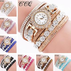 Luxusart und weise beiläufige Uhren passen Armbanduhr für Frauen-Dame Wrap Wrist-Leder reizend Unendlichkeit Rhinestone Bracelets Watches auf