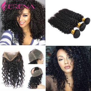 360 레이스 정면 클로저 번들로 Pre Plucked Lace 정면 위브 루스 웨이브 Curly Peruvian Virgin Hair with Frontal Closure