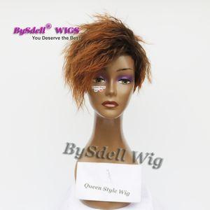 Premium Natural Look Black Root Ombre Burnt Brown Color Wig Sintetico Short Pixie Cut Ricci frangia parte libera Parrucche per Black / White Women