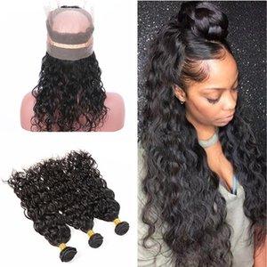Paquetes de cabello mojado y ondulado con frontal de encaje completo con ola de agua para el cabello del bebé Frontal de encaje de 360 pulg. Pre con pliegues con tejidos de cabello