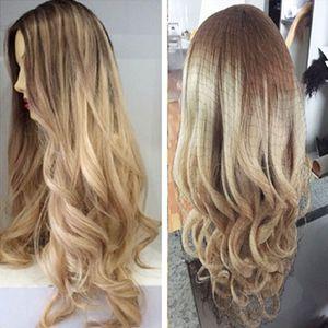 Ombre двухцветная блондинка Цвет 100% бразильский человеческих волос полный кружева парики кружева передние парики отбеленные узлы ombre # 8/22 парики человеческих волос
