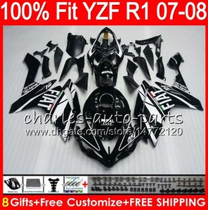 8Gifts 23Colors Iniezione per YAMAHA YZF1000 YZFR1 07 08 YZF 1000 37HM20 nero lucido YZF-R1 07-08 YZF-1000 YZF R 1 YZF R1 2007 2008 Carenatura
