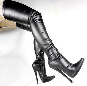 """Mujeres libres del envío 7 """"Botas altas de la entrepierna de los tacones altos Fetiche Zapato delgado atractivo del tacón de aguja sobre la rodilla Botín de la cremallera Muslo Botas altas 18c"""