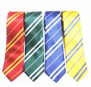 DHL Striped Neck Tie for Mens School Ties Studentsuits Gryffindo Ravenclaw Hufflepuff Slytherin Necktie Fashion Accessory Halloween Gift