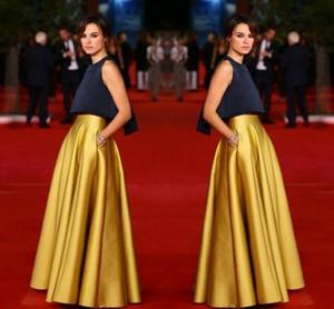 De haute qualité couleur or jupe longue avec poche satin étage longueur une ligne femmes sur mesure couleur et taille pas cher parti jupes