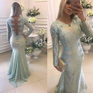 2018 Adaçayı Mermaid Abiye Jewel Boyun Uzun Kollu Dantel Aplike Sweep Tren Saten Örgün Balo Elbise Pleats Parti Kıyafeti Özel