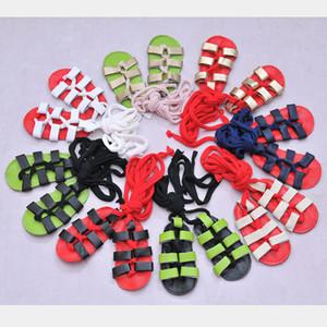 Bebé sandalias romanas multicolor Gladiador de cuero genuino de alta calidad de cuero de vaca suela suave con cordones zapatos para caminar infantil WJ825