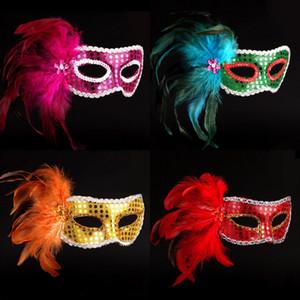여자 할로윈 베니스 Painted Feathers 가장 무도회 마스크 패션 Eyeliner 졸업 Birtyday Party Masks 스팽글 커버 Face Carnival Masks