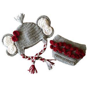 Neonata Little Miss Elephant Costume, Handmade Crochet Baby Girl Animal Hat e Pannolino Copertina Set, Football Team Hat Outfit, Foto per bambini Prop