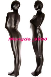 Traje de momia completa unisex Traje de disfraces de momia metálico brillante negro Unisex saco de dormir Fancy Bodybag Disfraces Nuevo Halloween Cosplay Traje M082
