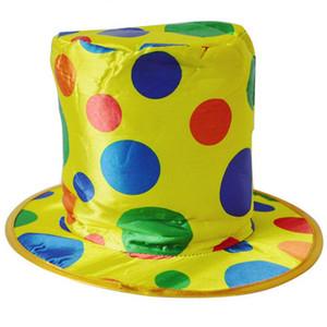 Wholesale-Women Men Polka Dot Clown Top Hat for Circus Magician Fancy Dress Party Christmas
