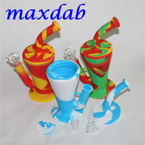Silicone Oil Rigs hookah Glass Bong Water Pipe with bowl and Down Stem High Quality Silicon RIG 9 Colors