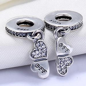 En gros 925 Sterling Silver Non Plaqué Coeur Pétales Pendentif Charme Charmes Européens Perles Fit Pandora Serpent Chaîne Bracelet DIY Bijoux