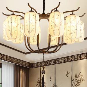 Estilo chino llevó luces de araña personalizada tela decorativa clásica pantalla de bambú patrón led arañas de iluminación lámparas colgantes