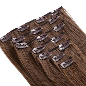 Высочайшее качество 16-24 дюймов 8 шт. / Компл. Клип Наращивание волос 150 г натуральных человеческих волос 1 # 2 # 4 # Цвет