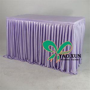 Decoración del banquete de boda de mirada agradable precio barato Poli hielo Tabla falda de seda \ Zócalo Para