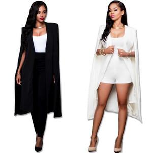 Mode Mantel Cape Blazer Frauen Langen Mantel Weiß Schwarz Revers Split Langarm Taschen Feste Beiläufige Klagejacke Arbeitskleidung