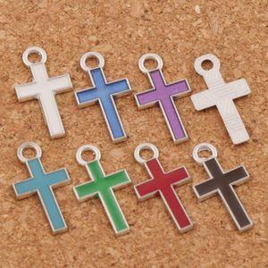 Esmalte de plata cruz encantos de la aleación 400 unids / lote colgantes 7 colores 8x15 mm joyería de moda DIY Fit pulseras collar pendientes L435