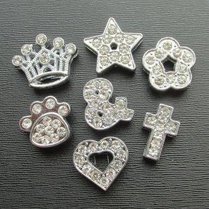 50 unids / lote aleación de zinc bricolaje diapositivas rhinestone piezas para collares para mascotas bandas diy slider accesorios encantos