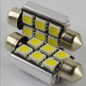 50X36 mm Canbus Error Festoon Dome 6 LED 5050 SMD White Lights Lampadina Festoon Dome Light