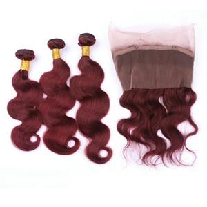 Peruanische Weinrot Menschenhaar mit 360 Frontal 22.5x4x2 Körperwelle # 99J Burgundy 3 Bundles reines Haar mit 360 Full Lace Frontal Schließung