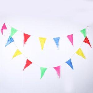 Atacado-1pc 10m Rainbow Wedding Bunting Bandeiras String Banner Mercados Party Birthday Christmas Decoraion banner de natal