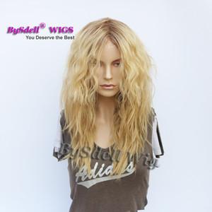 Parrucca per capelli ad onda viziosa naturale premium Sintetica media lunghezza parrucca bianca per donna Parrucca per capelli ombre Ombre Parte libera Parrucche scure