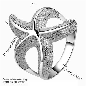 free shipping Big starfish plated sterling silver finger ring fit women,wedding 925 silver plate rings Solitaire Ring Band Rings ER538