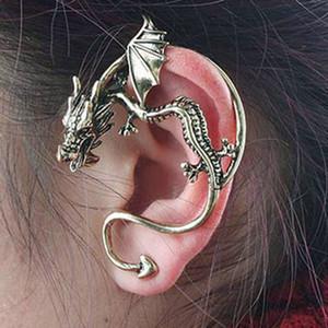 Oreille Vintage Boutons de manchette Boucles d'oreilles dragon Punk Femmes Hommes clip sur boucles d'oreilles bijoux en gros