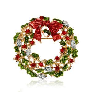Оптовая продажа-новое прибытие Рождество горный хрусталь броши для женщин милый стиль многоцветный лук-узел венок брошь булавки для девочек мода ювелирные изделия