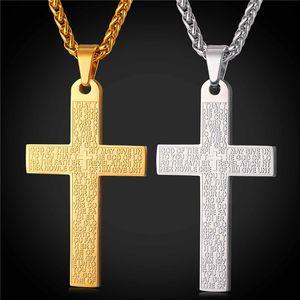 Bibel Kreuz Halsketten Anhänger Hohe Qualität Edelstahl Bibel Vers Latin Kreuz Schmuck für Frauen Männer