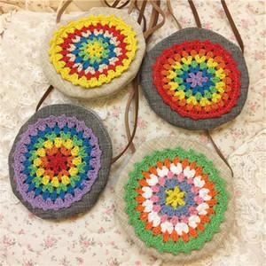 Borsa a tracolla fiore a fiori all'uncinetto borsa in cotone cucita tinta unita Satchel mini borsa mini accessori per abiti in costume