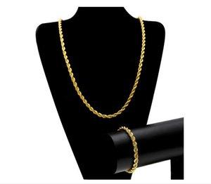 Nova cor de ouro cor prata homens hiphip 6.5mm torção cadeia HIPHOP CORDA CORRENTE colar pulseira set 80 cm de colar 22 cm de pulseira navio da gota