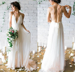 2020 Simple Sexy Plunging V Neck Straps Spaghetti Sheath Chiffon Wedding Dresses Backless Long Cheap Bridal Gowns Summer Beach Wedding Gowns