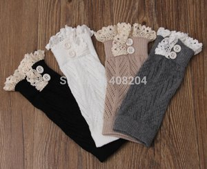 Wholesale- 5pairs lot lace short leg warmer womens boot socks knitted boot cuffs button 4colors available